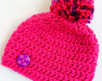 Newborn girl 0-3 months baby hat beanie hot pink infant hat baby photo prop Ready To Ship