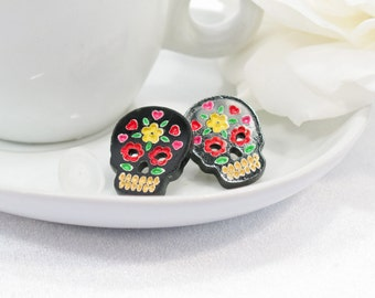 Multicolor Red and Yellow Hand-Painted Black Sugar Skull Post Earring