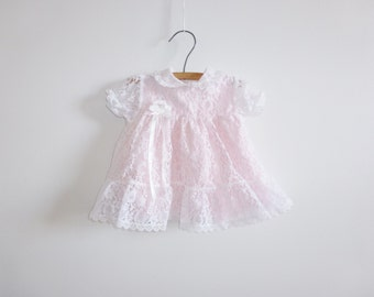 Vintage Pink and White Lace Baby Dress