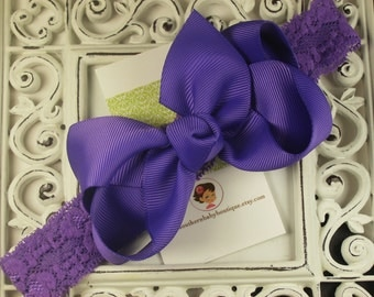 NEW----Boutique Baby Toddler Girl Hair Bow Clip with Lace Headband----Purple---