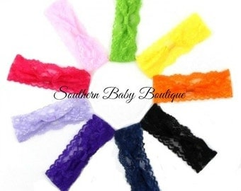 NEW ITEM----5 Boutique Interchangable 2 Inch Lace Girl Headband---You Pick Colors