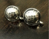 Sterling Silver Post Earrings,Hammered Earring, Oxidzied, 11x10mm,  Ear nuts included
