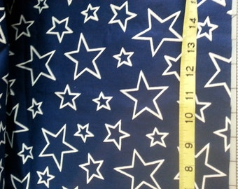 July 4th  Patriotic Blue With White Star outlines allover print Cotton over 4yd see description