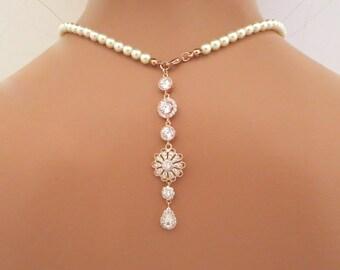 Bridal Backdrop necklace, Rose Gold Wedding necklace, Pearl Bridal necklace, Wedding jewelry, Rose Gold necklace, Crystal necklace, Simple