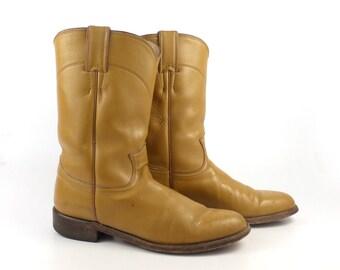 Tan Cowboy Boots Vintage 1980s Justin Roper Brown Women's size 6 1/2 B