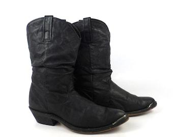 Women's Cowboy Boots Vintage 1980s Black Dingo Slouch size 6 1/2 M