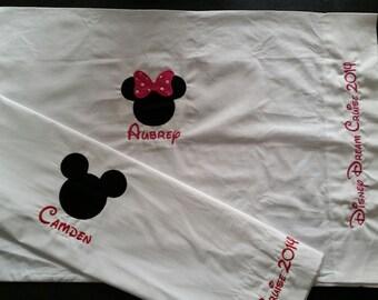 Disney Autograph Pillowcase Cruise Line, Disney World, Disneyland