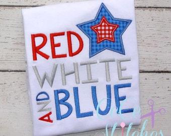 Red White Blue Embroidery Applique Design
