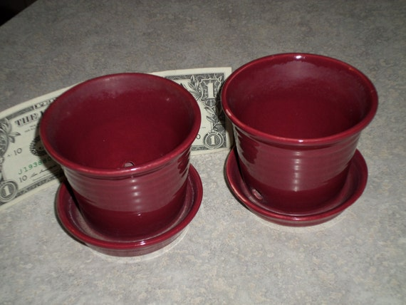 2 Burgundy Maroon Small Ringware Flower Pot With Saucer