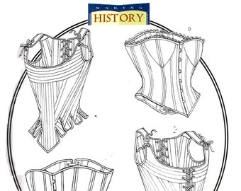 Historical Renaissance Corset and Stays Butterick 4254  Sewing Pattern Plus Size 18, 20, 22, bust 40, 42, 44 Misses