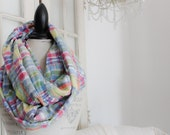 preppy colorful patchwork madras infinity scarf