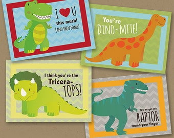 INSTANT DOWNLOAD Printable Classroom Valentines Dinosaur funny boy valentines day cards Triceratops, t-rex, raptor & long-neck printable