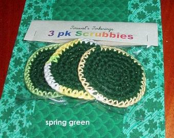 3 pack - dish scrubbies - cotton and nylon - hand crochet