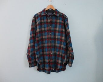 VINTAGE pendleton blue red plaid FLANNEL SHIRT