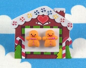 Gingerbread Men Earrings Studs