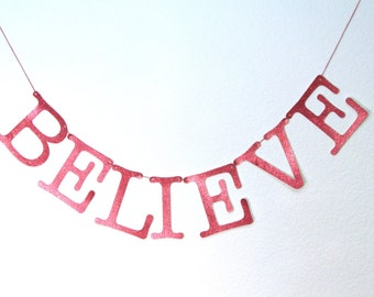 Believe Red Glittered Christmas Banner Garland Bunting