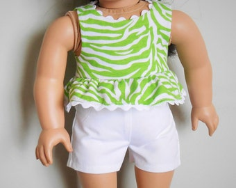 Green zebra striped cotton knit crop top with white shorts fits American Girl