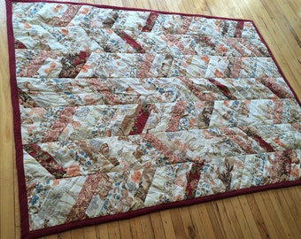 Quilt 74 x 54 Floral Zig Zags