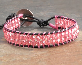 Czech Glass Leather Wrap Bracelet - Pink Cuff
