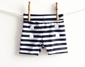 Baby Black and White Stripe Swim Trunks, Boys Striped Shorts, Toddler Boy Bathing Suit, Baby Shorties, Baby Boyshorts, Retro Bathing Suit