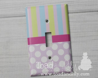 Pastel Polka Dots and Stripes Girls Bedroom Single Light Switch Cover LS0073