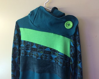 SALE!! RADIOACTIVE - Hoodie Sweatshirt Sweater - Recycled Upcycled - One of a Kind Women - SMALL
