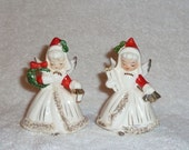 Vintage Holt Howard Christmas Norcrest Angel Candle Holders Shopper Figurines Napco White Red Green Retro