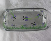 Glass Dragonfly Butter Dish free hand painted/nature/kitchen/dragonflies