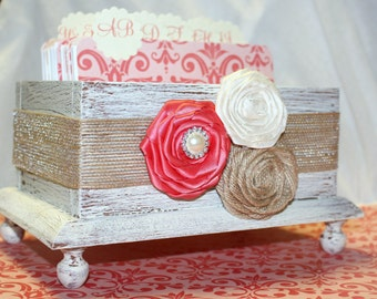 GUEST Book Box, Dividers, Advice cards, Rustic Burlap Wedding, Shabby Chic Ivory Box, Coral/Guava,custom colors