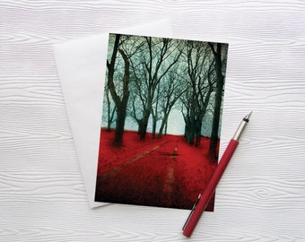 Montreal Art Greeting Card Architecture Forest Red - The Crimson Forest