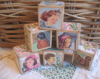 Set of Six Vintage Style Wooden Blocks from a Childrens Science Reader SPRING