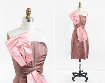vintage 1950s dress / 50s dress / Toffee and Pink Silk Bustier Strapless Cocktail Dress