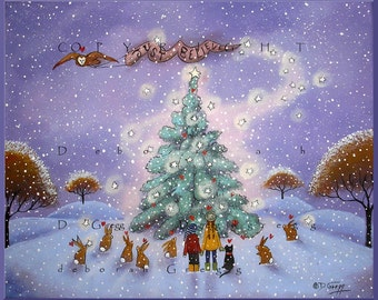 Just Believe a small, Winter, snow, Hearts Christmas Print  by Deborah Gregg