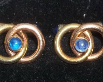 Vintage Krementz Sapphire Blue Lucite Glass Love Knots Gold Tone Cuff Links Cufflinks