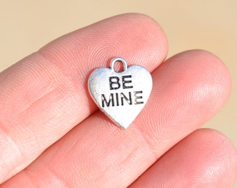 5  Silver Heart  Be Mine Charms SC1468
