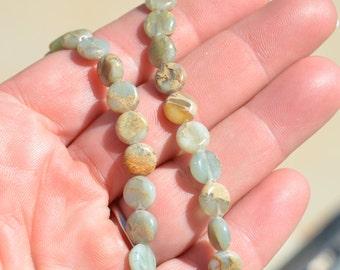 1 Strand Natural Serpentine 8mm Flat Round Beads BD812