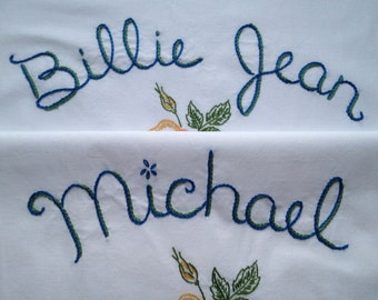 Michael Jackson, Billie Jean, Pillowcases, Hand embroidered, Thriller, Boho bedroom, Unboring gift, Stocking stuffer