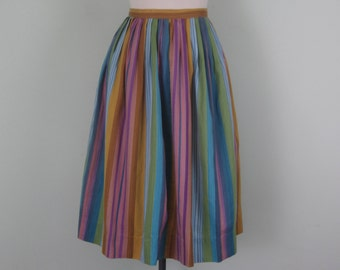 60s jewel toned stripe cotton fitted waist full pleated skirt (m - l)