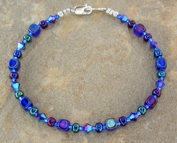 Iris Blue Anklet in Czech Cobalt Glass & Swarovski Crystal 9 - 14 inches, Small - Plus Size