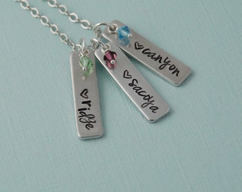 Hand stamped Mother's necklace, personalized name necklace, birthstones, Grandmother's necklace