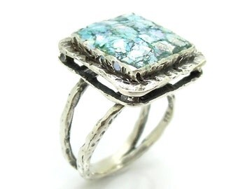 Large hammered square silver sterling roman glass ring