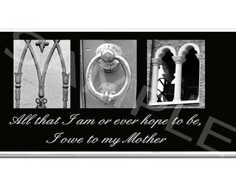 MOM MOTHER  Inspirational   Plaque black & white letter art