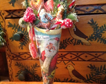 Victorian Christmas Cone filled with Vintage Trinkets Ornament - Folk Art Christmas