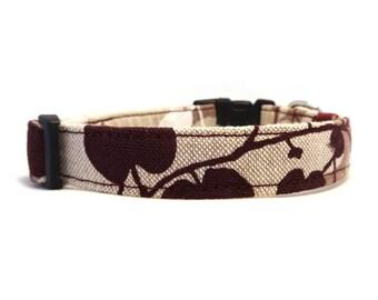 Floral dog collar - Beige pet collar - Brown dog collar - Japanese Garden - beige, brown, mauve and white floral adjustable dog collar