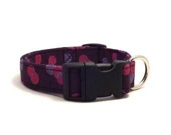 Purple&pink dots adjustable XS / S / puppy dog collar