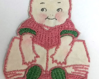 VINTAGE HANDMADE APPLIQUE patch, newborn baby, girl, kitschy linen, 1950s patch, cute baby, little girl, embroidered art, hand made, kewpie