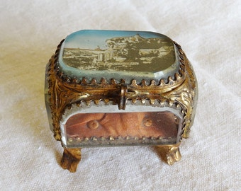 antique French jewelry box with beveled glass, souvenir from Rocamadour, France