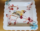 Serving Tray, Hand Painted Cedar Wax Wing Bird, Serving Platter, Elegant Wedding Gift,  Square Platter, Porcelain Handmade, Cream Color