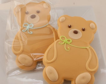 Teddy Bear Decorated Cookies - 12 Decorated Sugar Cookie Favors