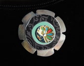 tin flower pin, recycled tin, tin jewelry, flower pin, vintage tin, magnetic pin, cold connection, black, aqua, mixed metal, re use,  flower